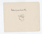item 012: THUMB-NAIL SKETCH BY HELEN WILLS MOODY OF HERSELF INCLUDING AUTOGRAPH